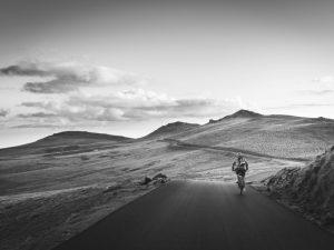 Speeding through the mountains on a bike